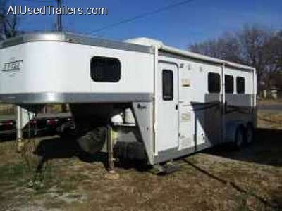 nice silver horse trailer used with living quarters & tack area